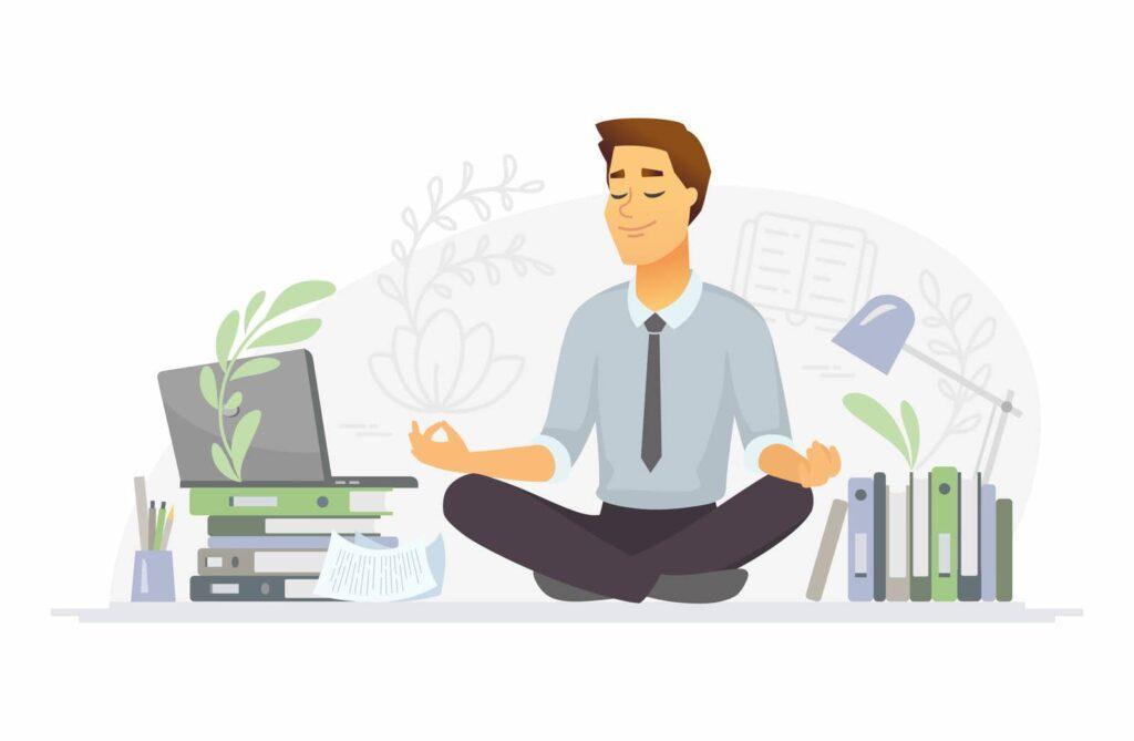 man meditating cartoon